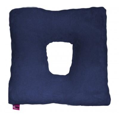Cuscino suapel in fibra cava quadrato con foro blu
